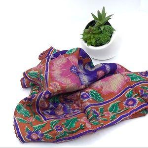 100% Silk Bohemian Print Scarf